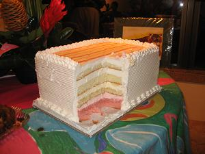 guava-coconut-pineapple-passion fruit-whip cream layer cake
